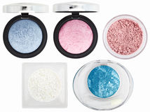 Five multicolored eyeshadows over white Royalty Free Stock Photos