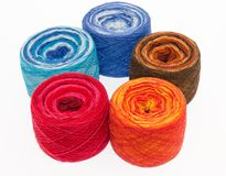 Multicolored rolls of yarn Royalty Free Stock Photography