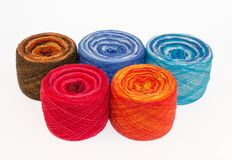 Multicolored rolls of yarn Stock Photography