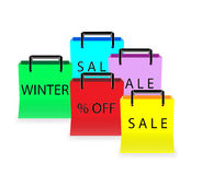 Five multicolored shopping bags Stock Photo
