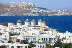 Five mykonos windmills. The five famous white washed windmills of mykonos, popular tourist attraction Stock Photos