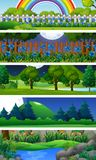 Five nature scenes with trees Stock Image