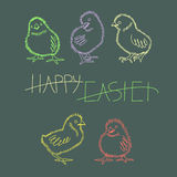 Five neon Easter chicken. Royalty Free Stock Photography