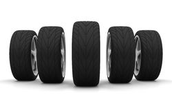 Five new car wheels. Perspective view of five new car wheels isolated on the white background. Front view Vector Illustration