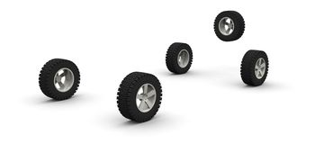 Five new off-road car wheels. Isolated on the white background. Side view Stock Image