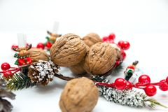 Five New Year`s figures on a string. Five Christmas figures on a string decorations for a Christmas tree Royalty Free Stock Image