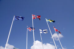 Five Nordic flags on flagpoles with EU flag. Denmark, Sweden, Norway, Finland, Iceland and European Union. Five Nordic flags on flagpoles with EU flag. Denmark Stock Image