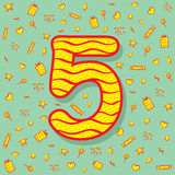 Five number birthday greeting design Stock Images