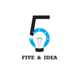 Five number icon and light bulb abstract logo design vector temp. Late.Business and education logotype idea concept.Vector illustration Stock Photo