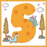 Five number cartoon. Five number magic world cartoon vector illustration graphic design Stock Photos
