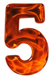5, five, numeral from glass with an abstract pattern of a flamin Royalty Free Stock Photos