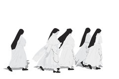 Five nuns walking Royalty Free Stock Photography