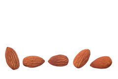 Five nuts almonds for decoration on white background Stock Image