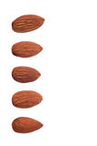 Five nuts almonds for decoration on white background Royalty Free Stock Photo