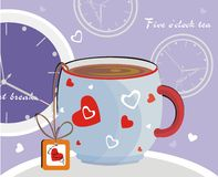 Five o'clock tea. Vector drawing of the cup with hot tea and abstract background Stock Photos