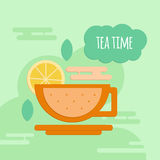 Five o'clock tea flat style concept. Royalty Free Stock Image