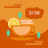 Five o'clock tea flat style concept. Tea time banner for coffeshops, restaurants, cafeteria and menu Royalty Free Stock Photos