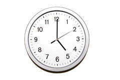 Five o`clock. Wall clock isolated on white and signing the five o clock hour - part of 12 hours series Stock Photos
