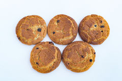 Five oatmeal cookies in the form of Olympic rings Royalty Free Stock Image