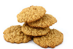 Five Oatmeal Cookies on White Royalty Free Stock Images