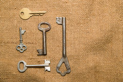 Five old keys to the safe on a very old cloth Royalty Free Stock Photo