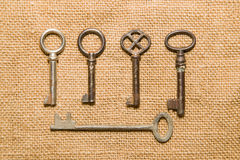 Five  old keys to the safe on a very old cloth Stock Photography