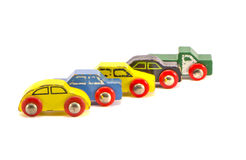 Five old retro toy cars isolated on white background Stock Photo