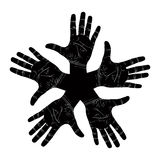Five open hands abstract symbol, detailed black and white vector Royalty Free Stock Image