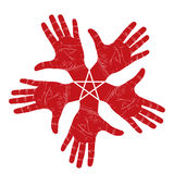 Five open hands abstract symbol with pentagonal star Royalty Free Stock Image