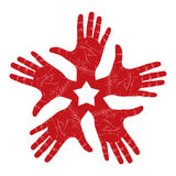 Five open hands abstract symbol with pentagonal star Royalty Free Stock Photo