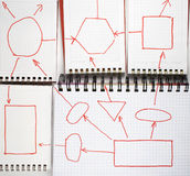 Five open notebooks. With flow-chart  on white Stock Photo