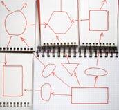 Five open notebooks Stock Photo