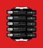 Five options template with hi-tech elements in black and red techno style. On flat vibrant background Stock Images
