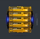 Five options template in yellow industrial techno style Stock Photo