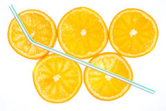 Five orange slices Stock Photography