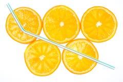 Five Orange Slices Stock Photography