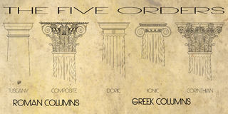 The five orders columns Stock Photography