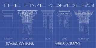 The five orders. Greek and roman columns of the five orders on tecnic background Royalty Free Stock Photo