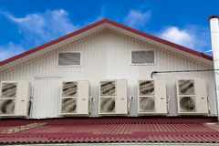Five outdoor units of air conditioners on the wall Royalty Free Stock Image