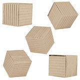 Five packages made of corrugated cardboard Royalty Free Stock Photography