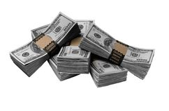 Five packs one hundred dollar bills Stock Image