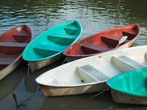 Five Paddle boats made of fiberglass Stock Image