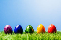 Five painted easter eggs in a row, grass and blue background. Row of five different color painted easter eggs in grass, blue background Royalty Free Stock Photos