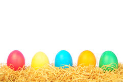 Five painted eggs on a straw on a white Royalty Free Stock Image