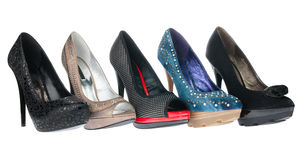 Five pair shoes of high heels Royalty Free Stock Photography