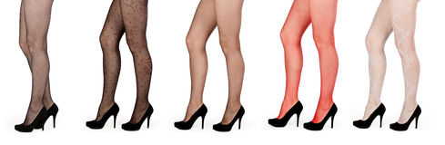 Five pairs of female legs in pantyhose Royalty Free Stock Photography