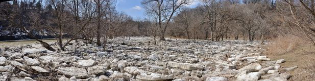 Five panel panorama of ice floes above first weir Humber River 2015 Royalty Free Stock Photo