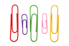 Five paper-clips Royalty Free Stock Images