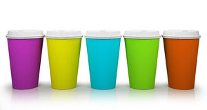 Five paper cups of coffee Stock Photo