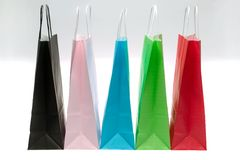 Five paper shopping bags Royalty Free Stock Photo